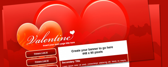 Free Valentines CSS Template for Adobe Dreamweaver